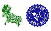 Vector Collage Of Wine Map Of Uttar Pradesh State And Best Grape Wine Grunge Seal. Map Of Uttar Prad poster