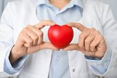 Doctor Holding Red Heart, Closeup. Cardiology Concept poster