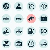 Automobile Icons Set With Signal, Cruise Control On, Not Key And Other Repairing Elements. Isolated  poster