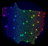 Bright Mesh Vector Map Of Mato Grosso State With Glare Effect. Light Spots Have Bright Spectrum Colo poster