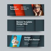 Design Of Horizontal Vector Web Banners In The Style Of Material Design With A Place For Photo And T poster