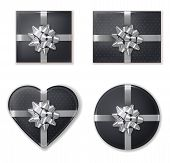 Giftbox Set Collection Black And Silver Vector Realistic. Product Placement Mock Up. Design Packagin poster