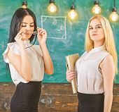 Ladies Ready To Start Private Lesson, Chalkboard On Background. Private Lesson Concept. Attractive T poster