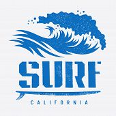 Surfing California T Shirt Design, Vintage Illustration With An Ocean Wave And A Surfboard. Surf Typ poster