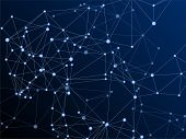 Block Chain Global Network Technology Concept. Network Nodes Plexus Dark Blue Background. Informatio poster