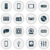 Electronics Icons Set With Keyboard, Smartphone, Pc And Other Processor Elements. Isolated Vector Il poster