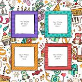 Cartoon Art Styles. Decorative Birthday Vector Template Frames. These Photo Frames You Can Use For K poster