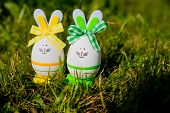 Cute Creative Photo With Easter Eggs As The Easter Bunny On Green Grass Background. Happy Easter Gre poster