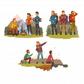 Men Travelling Together, Camping People, Tourists Hiking In Mountains, Backpacking Trip Or Expeditio poster