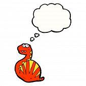 stock photo of bulging belly  - cartoon snake thinking - JPG