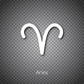 Aries Astrological Symbol With Shadow Isolated On Transparent Background. Star Sign For Individual A poster