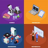 Stem Education Isometric Composition With Compositions Of Books Computers Elements Of Scientific Equ poster