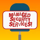 Handwriting Text Managed Security Services. Concept Meaning Approach In Analysisaging Clients Securi poster