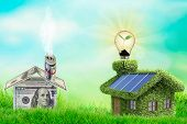 Photovoltaic Solar Panels On Newly Built Modern House. Eclology Concept poster