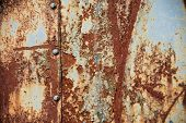 Grunge Texture: Old Rusty Metal Surface Covered With Blue Paint Flaking And Cracking Texture, With S poster