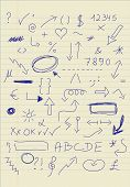 pic of hashtag  - Set of doodle signs on piece of paper - JPG