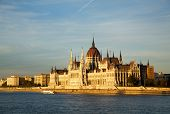 foto of hungarian  - Hungarian Parliament building in Budapest Hungary at sunset - JPG