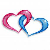 stock photo of soulmate  - pink and blue hearts entwined on white background - JPG