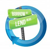 picture of borrower  - roadsign of words borrow and lend illustration design over white - JPG