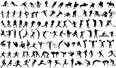 image of wrestling  - Set of vector silhouettes of people in sports - JPG