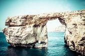 stock photo of gozo  - Azure Window famous stone arch on Gozo island Malta - JPG