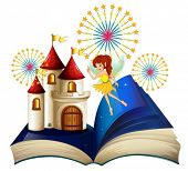 foto of storybook  - Illustration of a storybook with a flying fairy near the castle with fireworks on a white background  - JPG