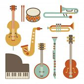 stock photo of trombone  - Jazz instruments set - JPG