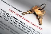foto of deed  - House keys and foreclosure notice in dramatic light - JPG