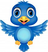 image of bluebird  - Vector illustration of Cute blue bird cartoon - JPG