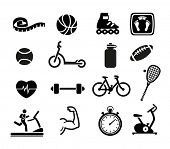 stock photo of flask  - Set of Exercise and Fitness Icons - JPG