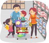 image of stickman  - Illustration of Stickman Family Shopping in a Grocery Store - JPG