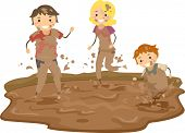 stock photo of stickman  - Illustration of Stickman Family Playing in the Mud - JPG