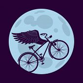 Cruiser bicycle is flying with wings over the circle of the moon. Raster image. Find an editable ver