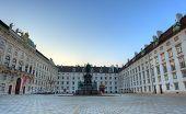 foto of mozart  - Square in Hofburg Vienna at sunrise - JPG
