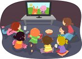 stock photo of kiddy  - Illustration of Stickman Kids Watching Cartoons - JPG