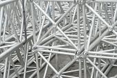 stock photo of scaffolding  - Scaffolding as Safety Equipment on a Construction Site - JPG