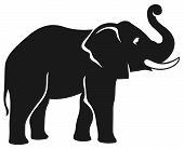 stock photo of indian elephant  - abstract art african elephant black vector illustration - JPG