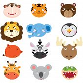 image of cute tiger  - Cute Animal Heads Set - JPG