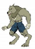 stock photo of wolfman  - Cartoon illustration of a werewolf isolated on white - JPG