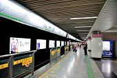 SHANGHAI, CHINA - MAY 27: Shanghai subway station interior on May 27, 2012 in Shanghai, China. The S