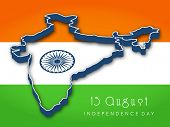 image of asoka  - Republic of India map on national flag background for Independence Day - JPG