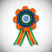 stock photo of indian independence day  - Indian independence day or republic day concept with badge in Indian tricolors - JPG