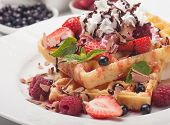 stock photo of whipping  - Waffle cake with fresh fruit and whipped cream - JPG