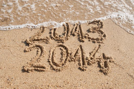 stock photo of happy new year 2013  - Waves delete numbers of old year 2013  - JPG