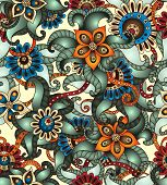 stock photo of cucumber  - Ornamental colored seamless floral pattern with flowers - JPG