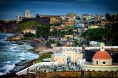 picture of el morro castle  - Crashing surf on the beach at El Morro Fortress - JPG