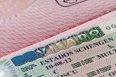 stock photo of olympiade  - shot of few passport with Schengen visa