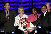 Adam Carolla with Britney Spears and Antonio Villaraigosa   at the Debut of L.A. Live's 'Light of An