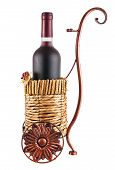 Bottle Of Red Wine In Wheeled Basket