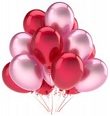 foto of helium  - Party balloons birthday decoration pink red love helium balloon - JPG